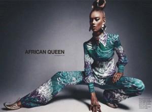 une mannequin blanche peinte en noir pour représenté «l'African Queen» !