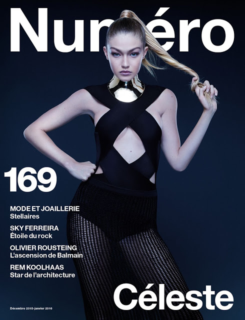 Gigi Hadid in Numéro France December 2015 / January 2016 issue