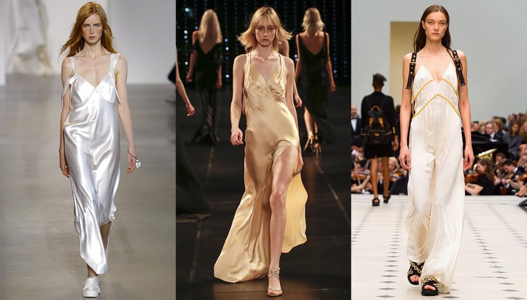 De gauche à droite : Calvin Klein Collection, Saint Laurent et Burberry Prorsum.