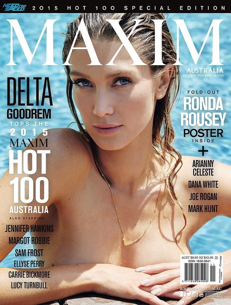 "DELTA GOODREM sur la couverture de ""Maxim."""