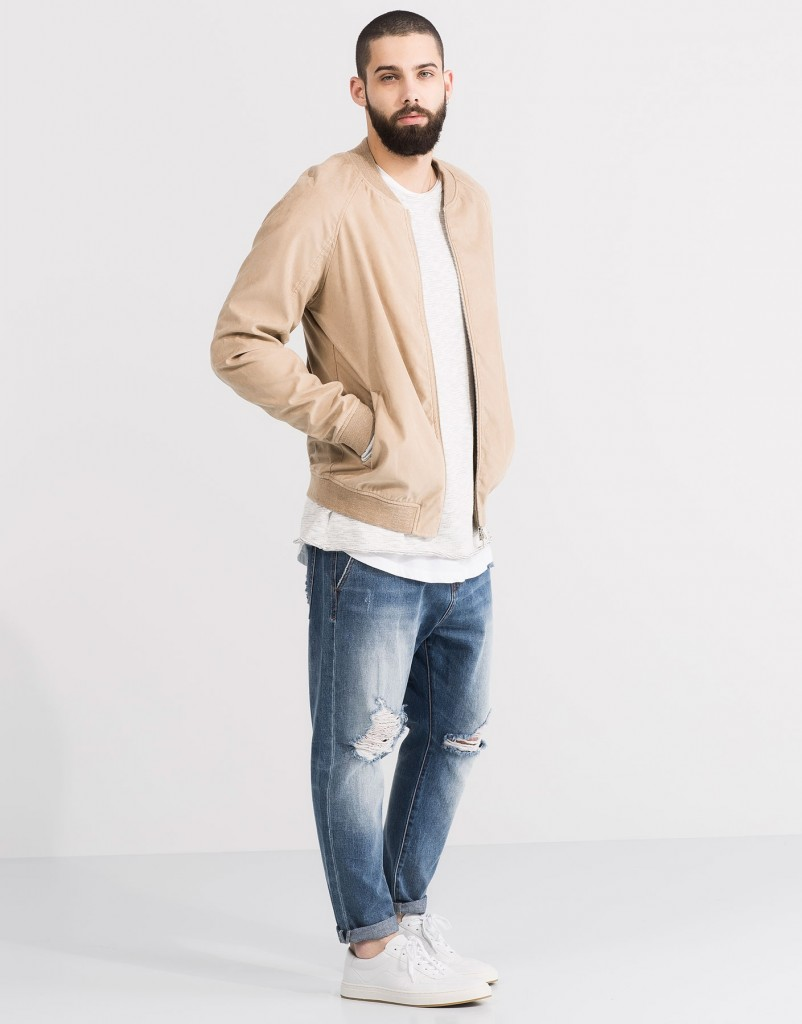 Pull and Bear Tunisie Collection 2016 - BLOUSON BOMBER IMITATION DAIM RÉF. 5710511