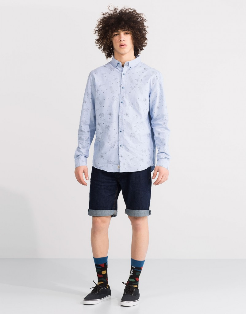 Pull and Bear Tunisie Collection 2016 - CHEMISE TYPE OXFORD À MANCHES LONGUES RÉF. 5470515