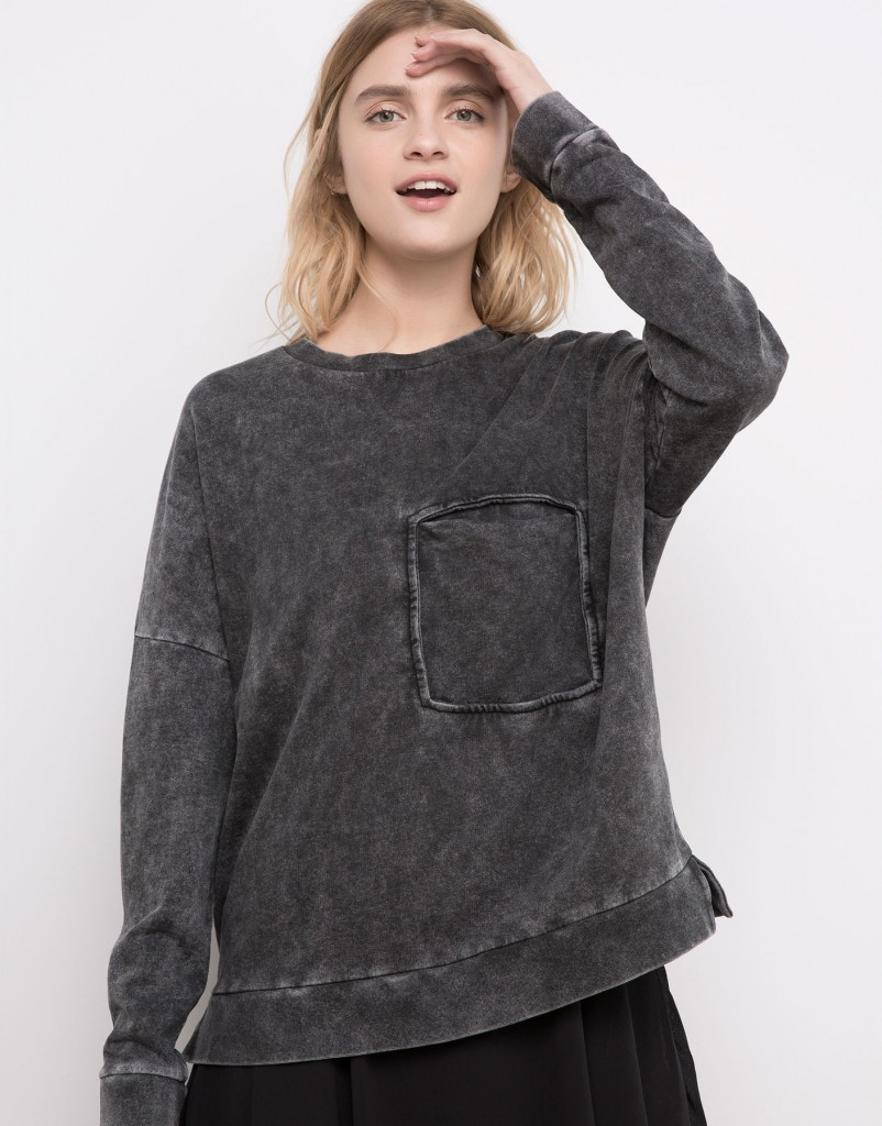 Pull and Bear Tunisie Collection 2016 - SWEAT DÉLAVÉ AVEC POCHE RÉF. 5591326