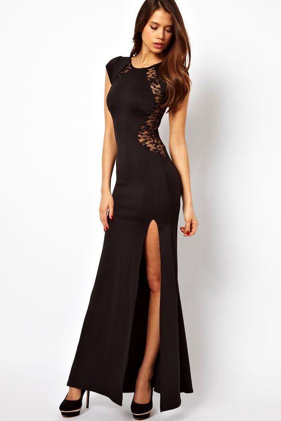 Robe longue de soiree cocktail sexy dentelle Noir