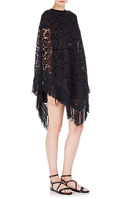 Valentino - fringed lace poncho