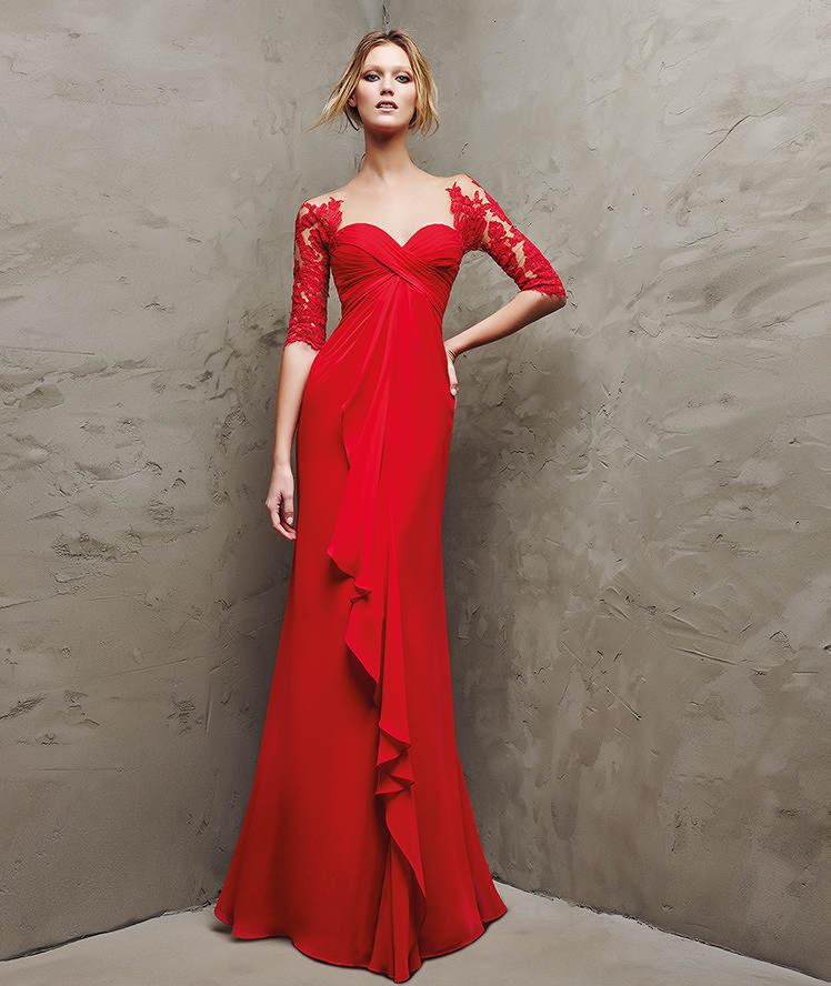 Robe de soirée longue 2016 , Modèle LANDETA Robe longue et rouge, en gaze,