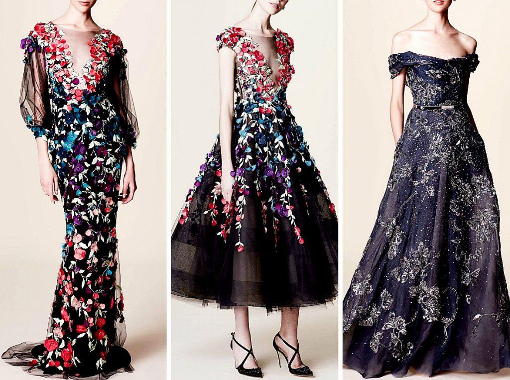 Robes de soirée longues 2017 - Modèles Marchesa pré- automne 2017