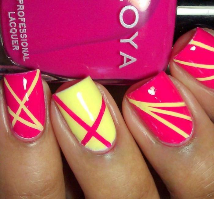 déco-ongles-art-nail-en-rose-et-jaune