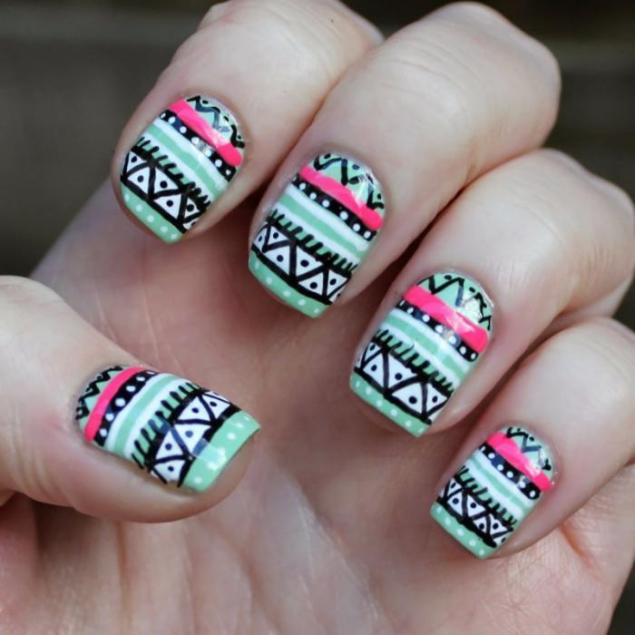 déco-ongles-aztèques-déco-ongle-bariolée