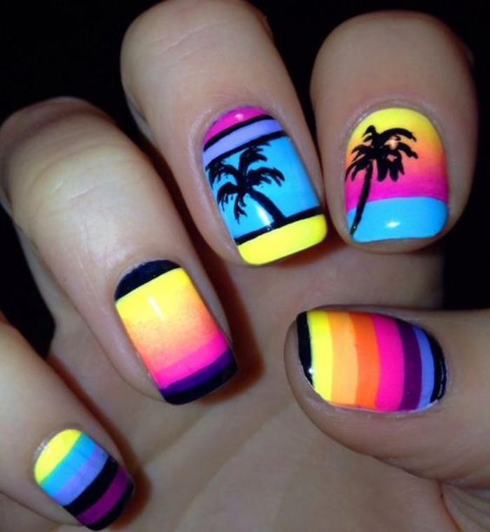 déco-ongles-d'été-couleurs-néons-et-palmiers