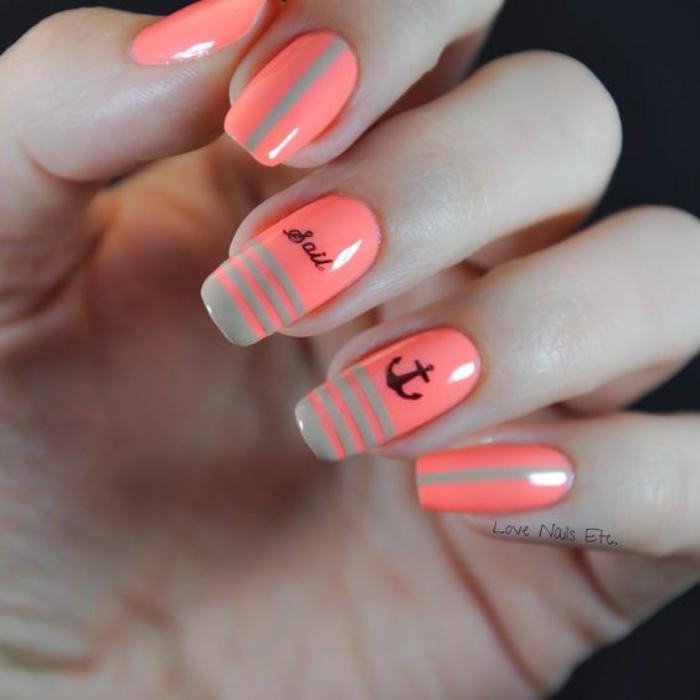 déco-ongles-thème-marine-ancre-sur-ongles-corail