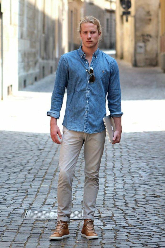 Comment porter chemise en jeans homme for Men a porter