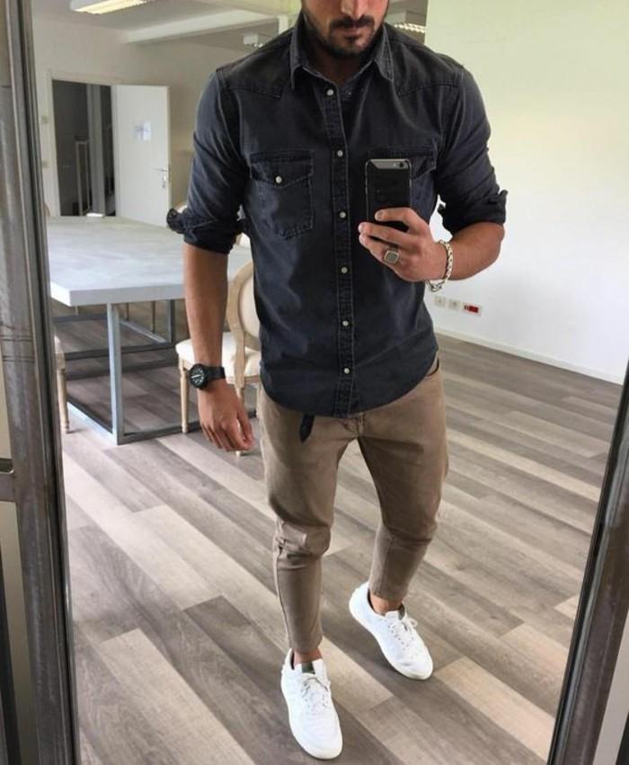 jolie-chemise-a-carreaux-chemise-jean-moderne-foncé