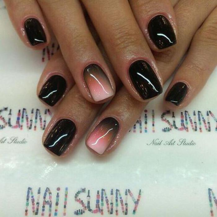 manucure-ombré-dégradé-noir-rose-magnifique