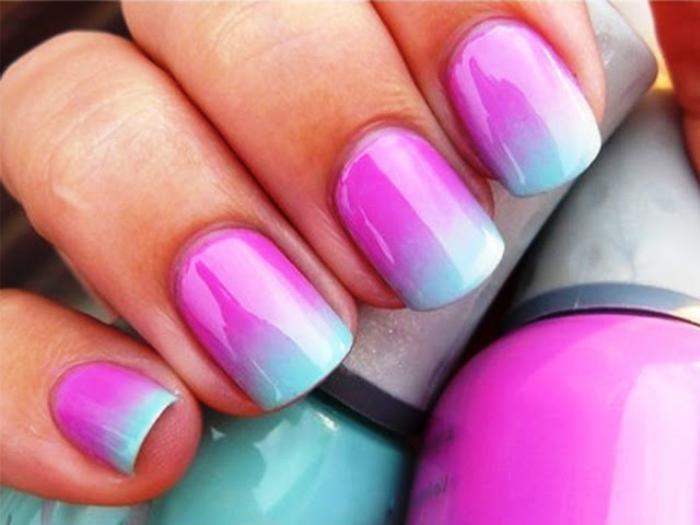 manucure-ombré-nail-art-en-menthe-et-rose