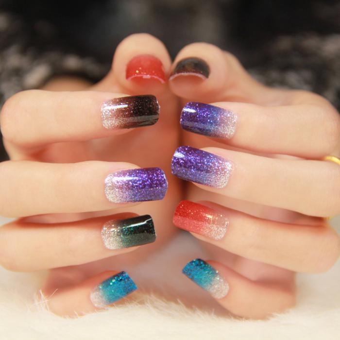 manucure-ombré-ombré-nail-art-paillettes
