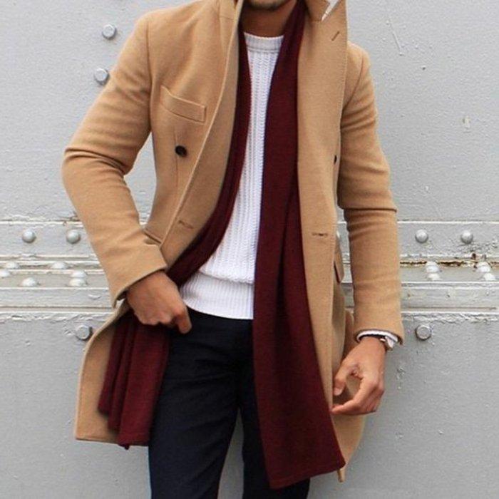 Manteau mi long homme beige