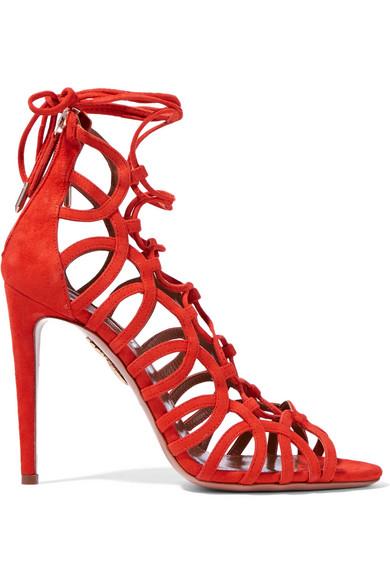 Chaussures de soirée femme à talons - Sandales AQUAZZURA à talons en daim à lacets Oh Lala - tendance 2016-2017