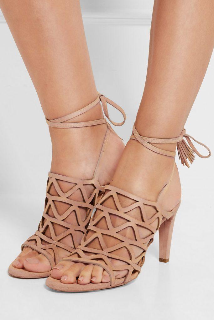 aa28127222f Chaussures de soirée femme à talons - Sandales CHLOE à talons en daim  ajourées - tendance