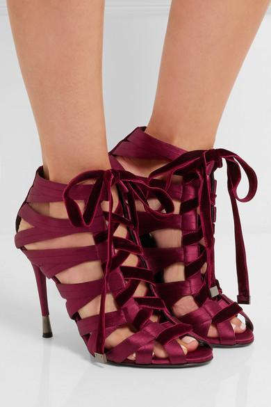 Chaussures de soirée femme à talons - Sandales Tom Ford à talons en satin et velours à lacets - tendance 2016-2017
