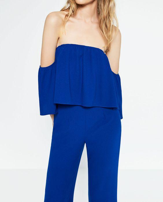 Zara - Combinaison bleu à épaules dénudées