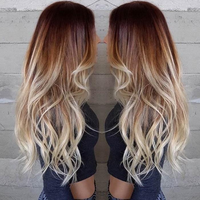 Couleur cheveux brun meche blonde