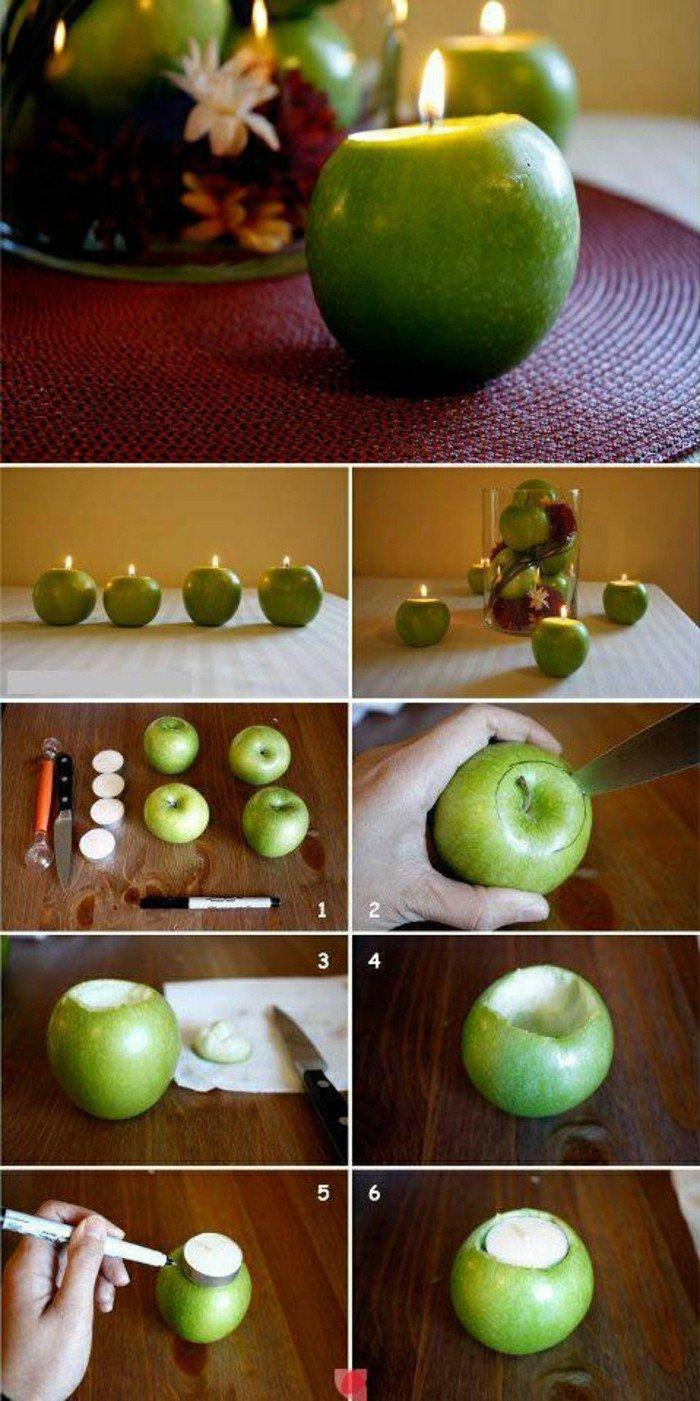 déco de table mariage avec une pomme et bougie, comment faire bougie ...