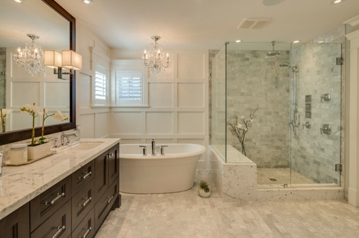 Peinture salle de bain 2016 2017 77 photos qui vont - Salle de bain avec baignoire sur pied ...