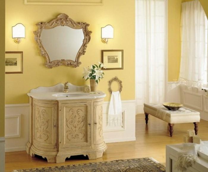 couleur-peinture-salle-de-bain-jaune-décor-vintige-qui-brille-par-son-élégance
