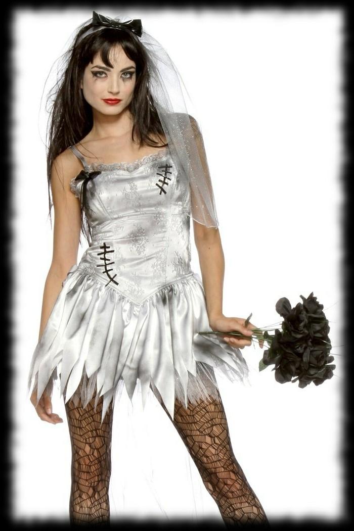 deguisement-halloween-facile-femme-jeune-mariee-zombie-idee-maquillage-halloween-interessante