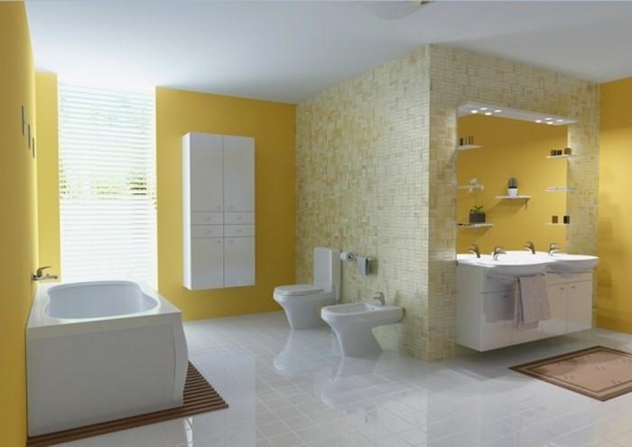 idee-sublime-couleur-salle-de-bain-jaune-double-vasque-baignoire-à-poser-blanche-peinture-plafond-salle-de-bain-blanche-carrelage-blanc-mosaique-jaune