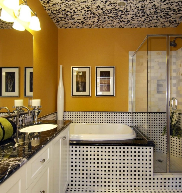 superbe-suggestion-couleur-salle-de-bain-jaune-idee-carrelage-intéressante-peinture-plafond-salle-de-bain-original-cabine-de-douche-en-verre