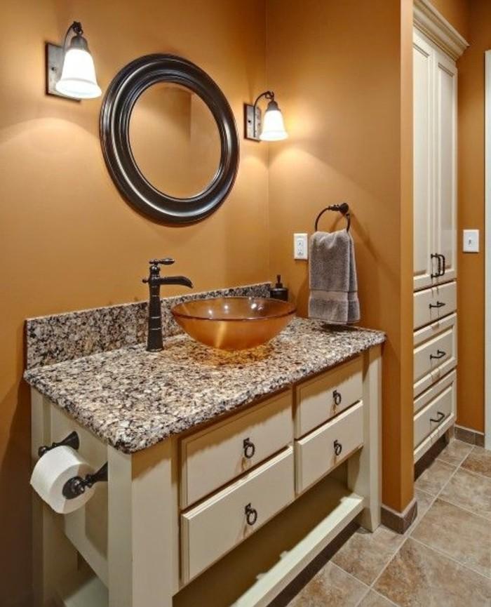 formidable-idée-couleur-salle-de-bain-orange-pâle-vasque-à-poser-orange-meubles-salle-de-bain-design-vintage