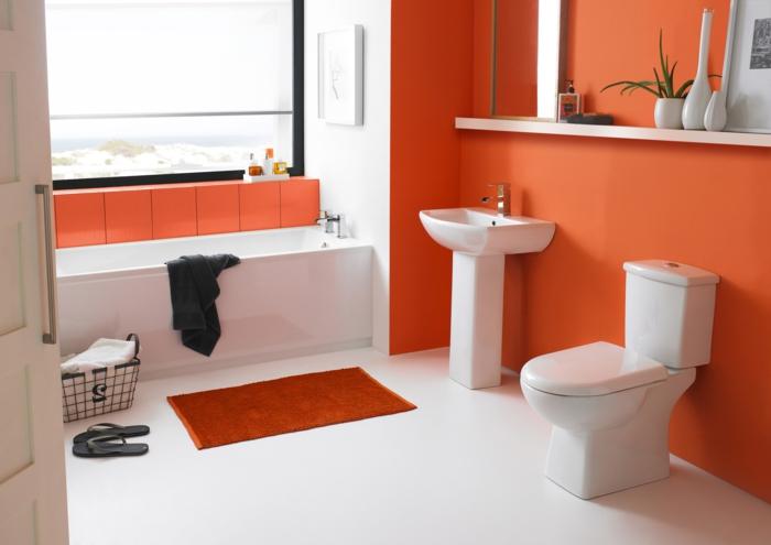 jolie-suggestion-peinture-salle-de-bain-orange-lavabo-colonne-baignoire-à-encastrer-blanche-sol-blanc