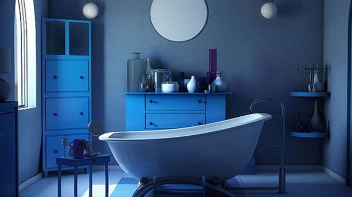 idée-unique-peinture-salle-de-bain-bleue-meubles-salle-de-bain-bleus-baignoire-à-poser-blanche