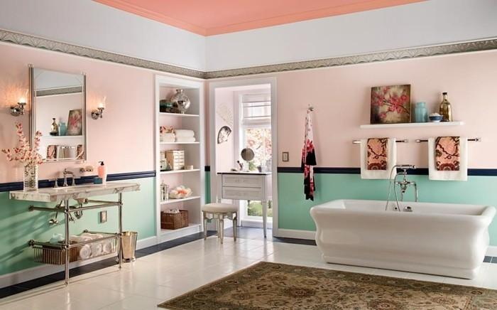 couleur-salle-de-bain-rose-lavabo-console-coiffeuse-blanche-baignoire-à-poser-blanche-jolis-objets-décoratifs