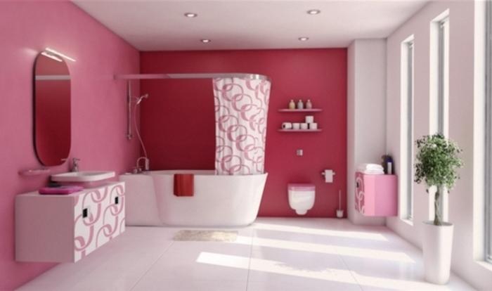 idée-couoleur-salle-de-bain-rose-glamour-baignoire-à-poser-déco-salle-de-bain-au-goût-vintage
