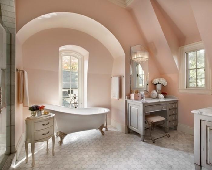 magnifique-idée-couleur-salle-de-bain-rose-élégante-baignoire-à-poser-meubles-salle-de-bain-au-goût-vintage