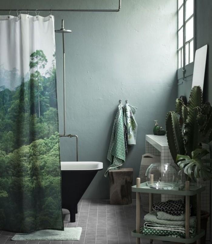 excellente-idée-couleur-salle-de-bain-verte-baignoire-à-poser-rideau-de-douche-ambiance-vintage