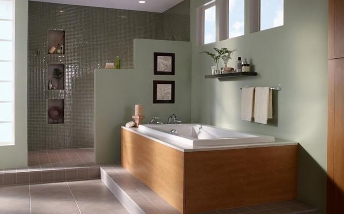 peinture-pour-salle-de-bain-verte-baignoire-à-poser-porte-serviette-étagère-espacce-douche-semi-ouvert