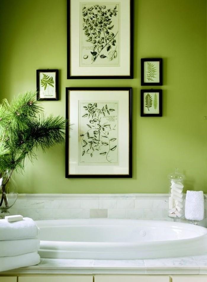 sublime-idée-couleur-salle-de-bain-verte-baignoire-à-encastrer-déco-de-plantes-amboance-zen