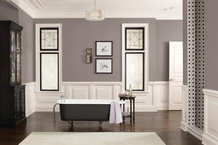 Salle De Bain Verte Et Grise : … salle de bain taupe. Baignoire blanche à poser. Meubles salle de bain