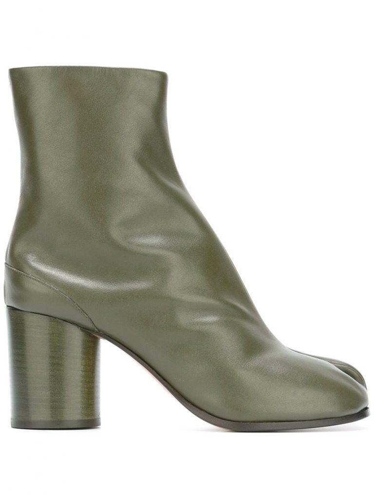 "Bottines ""Tabi"" en cuir vert kaki Maison Margiela"