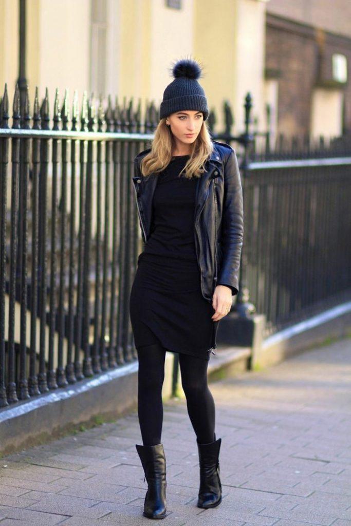 Robe de soirée noire courte Tendance 2017 - Modèle 12 Et en hiver, quand il fait froid les leggings noires