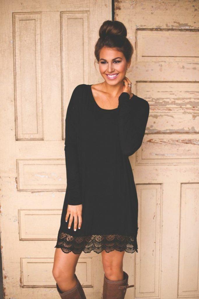 Robe de soirée noire courte Tendance 2017 - Modèle 15 Robe noire chic avec dentelle