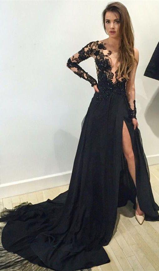 Robe de soirée noire longue tendance 2017 - Modèle 14 Robe noire longue élégante avec dentelle