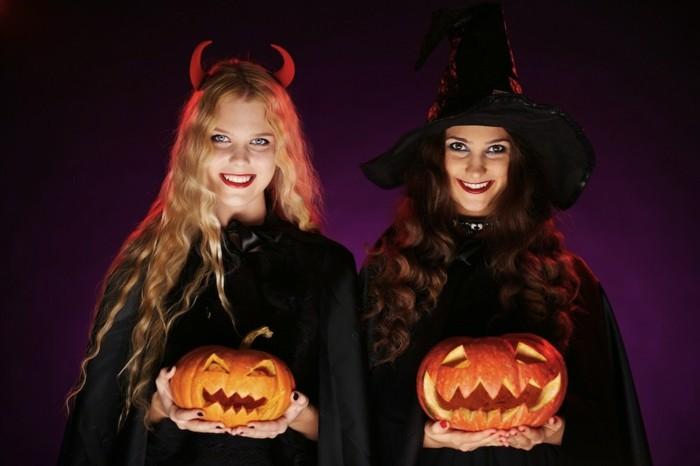 duo-sorcieres-idee-deguisement-halloween-a-faire-soi-meme-des-sorcieres-charmantes