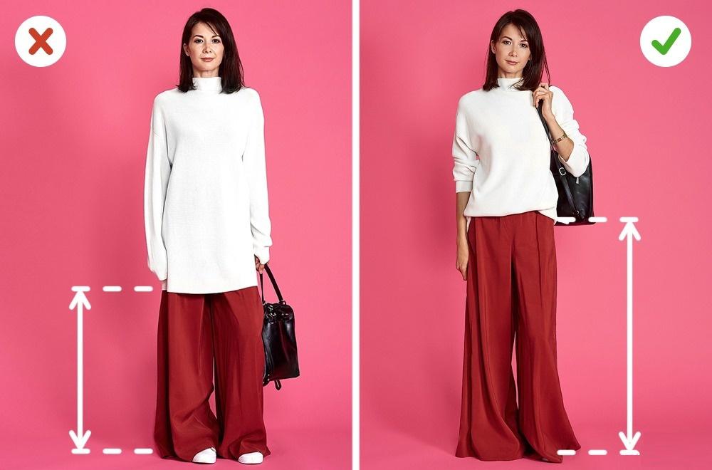 Les pantalons Palazzo sont une excellente façon de cacher les talons hauts tout en donnant l'air d'avoir des jambes plus longues et vous faire paraître plus grande. Essayez de choisir des styles uniques avec un look posé et simple.