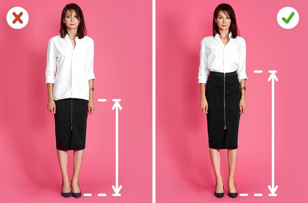Les jupes crayon vous font paraître beaucoup plus mince et plus grande. Si vous ne disposez pas d'un haut court, une chemise blanche ou un chemisier vous aidera. Dans notre cas, il doit être replié à l'intérieur de la jupe, qui vous fera paraître beaucoup plus mince.
