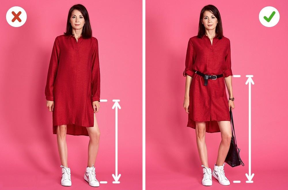 Une robe-chemise a un design intéressant et va bien avec presque tout type de silhouette. Cependant: il suffit d'adapter une ceinture et retroussez vos manches. La longueur des manches parfaits pour les filles petites est 3/4. D'autre part, essayez de choisir une robe chemisière avec un seul ton.